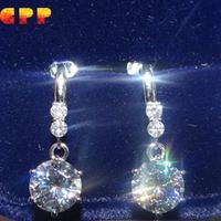 Luxury Quality CPP 2 Carat Simulated Diamond Dangle Earrings For Women,Fine Sterling Silver Jewelry,Long Earrings Big Earrings