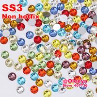 SS3 1.3-1.4mm,Mix Colors Nail Crystals 1440pcs/bag Glass Non HotFix FlatBack Rhinestones,Not Hot Fix Glitters Glue on stones