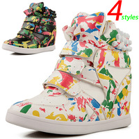 Graffiti Fashion Wedges Sneakers,Transparent Air Mesh Fabric,Size 35~39,Hollow Breathable,Height Increasing 6cm, Women`s Shoes
