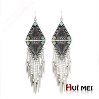 Free Shipping Fashion New Arrival Punk Women Ethnic Vintage Silver Plated Long Tassels Chunky Statement Drop Earrings Jewelry