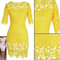Plus Size Brazil Yellow  Crochet Lace Bandage  Bodycon Dress Women's Vintage Floral Boho Woman Midi Evening Party Pencil Dress