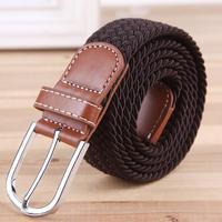 Fashion Elastic Belts 2014 New Waistband Woven Canvas Belt Men Women Wild Casual Belt Buckle Korean Style Strap T173