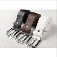 Fashion Men Leather Belt 2014 New Super Handsome Brown Coffee Black Casual Mens Metal Buckle Strap Korean Men's PU Belts T172