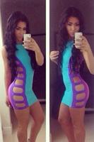 New Pink/Purple Sexy Strappy Cut-out 2014 Summer Bodycon Women Mini Dress  LC21132 Clubwear