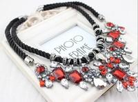2014 Newest Gorgeous Brand Rhinestone Strand Choker Statement Necklaces & Pendants Design Body Colar Women Jewelry Gift XN026