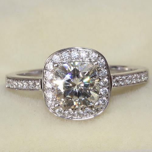 Solide 14k gold luxus 1.1 Karat Halo verlobungsring für frauen echte Labor gezüchtet charles& colvard moissanite diamant
