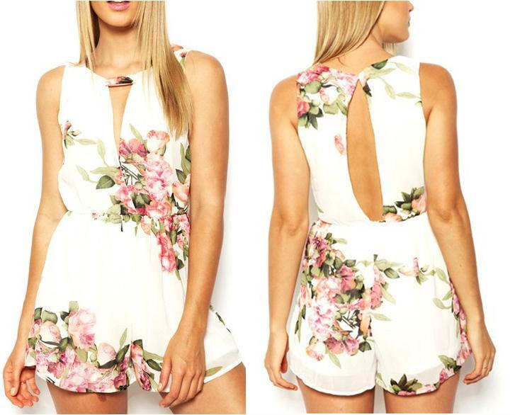 open back chiffon floral romper womens Summer playsuits jumpsuit 2015 summer cute feminino vestidos female overalls Clothing(China (Mainland))