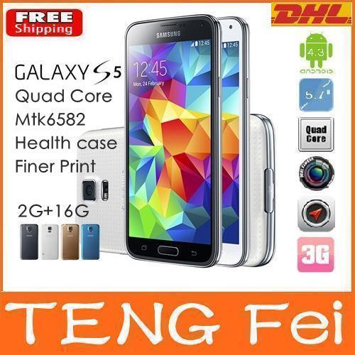 Livraison gratuite s5 téléphone. s5 1:1 i9600 sm-g900 quad core mtk6582 8mp 2gb ram 16go rom 4.4 android téléphone mobile