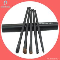 5pcs Eye Brushes Set 2014 New Brand Professional Pony Hair Travel Basic Eyes Makeup Kits Tube Holder Black
