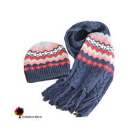 European and American Style Children Hat Children Scarf Jacquard Hat Scarf Two-piece Cotton Sets