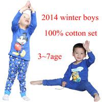 retail 2014 winter baby boys minions/mickey mouses sweater pants long sleeve cartoon cotton pajams children's apparel