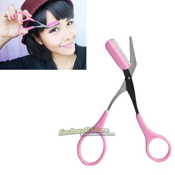 Girl Lady Pink Eyebrow Trimmer Eyelash Thinning Shears Comb Eyelash Hair Clips Scissors Shaping Eyebrow Grooming Cosmetic Tool(China (Mainland))