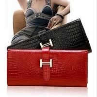 New 2015 fashion portefeuille women leather string crocodile long famous brand designer wallet carteira feminina free shipping
