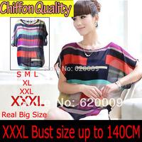 Colorful Stripe Chiffon Blouses Shirt  XXXL Plus Size Summer 2014 Hot Shirt Blusas Femininas Crop Top Tee  Women Blouses