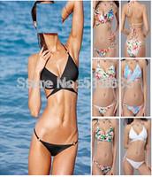 2014 New Wrap Halter Top Bikini Suit, Swimwear Swimsuit for Women, vintage Push Up String Brazilian Bathing Suit
