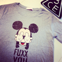 2014 College Wind funny Mickey mouse FUXX YOU cartoon print short sleeve T-shirt women cheap casual Tee