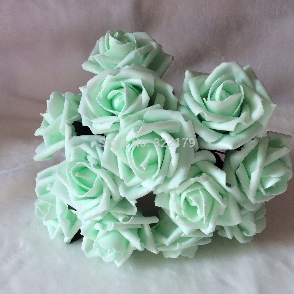 Aliexpress Buy 72pcs Free Shipping Mint Green Artificial Flowers Bridal Bouquet Wedding