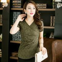 2014 Summer Plus Size Clothing Women's Lace Shirt Short-Sleeve V-Neck Slim Stretch Basic Shirt Sexy Tops