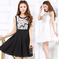 2014 Summer Plus Size Clothing OL Formal Organza Sleeveless High Waist One-piece Dress Knee Length Sweet Party Dress
