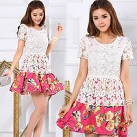 2014 Summer Plus Size Clothing Slim Lace Crochet Patchwork Short-Sleeve High Waist One-Piece dress Lace Chiffon Dress