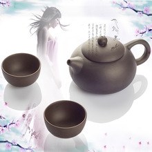 Drinkware Coffee&Tea Sets New 2014 Yixing Purple Teapot 3 Pieces/Set Tea Service Tea Cup Kung Fu Tea Set Wholesale Free Shipping