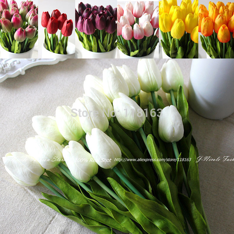 Wholesale 24pcs/lot PU Tulip Artificial Flowers Wedding Home Decorative Flowers Home Decoration Flower(no vase)(China (Mainland))