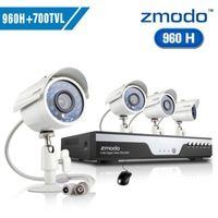 Zmodo cctv 8ch 960h video surveillance system 4pcs 700tvl outdoor camera system+Free Shipping