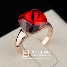 New Fashion Elegant Rose Gold Plated Red Ruby Crystal Jewelry Womens Ring (Jingjing GA018R)