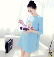 Summer fashion maternity clothing maternity three quarter sleeve one-piece dress colored flowers pattern maternity dress