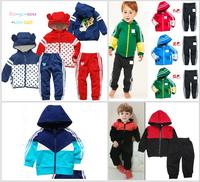 Retail children outerwear sport suit hooded jacket+pants boys coat girls 2 pcs set baby tracksuits shampooers autumn clothes