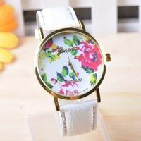 PU Leather Strap Beautiful Rose Flower Dial Super Design Casual Geneva Wrist Watch for Women,students, Girls