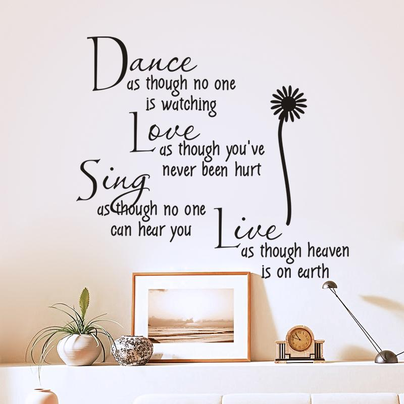 dance as though no one is watching love quote wall decals zooyoo2008 removable pvc wall stickers home decor bedroom diy wall art(China (Mainland))
