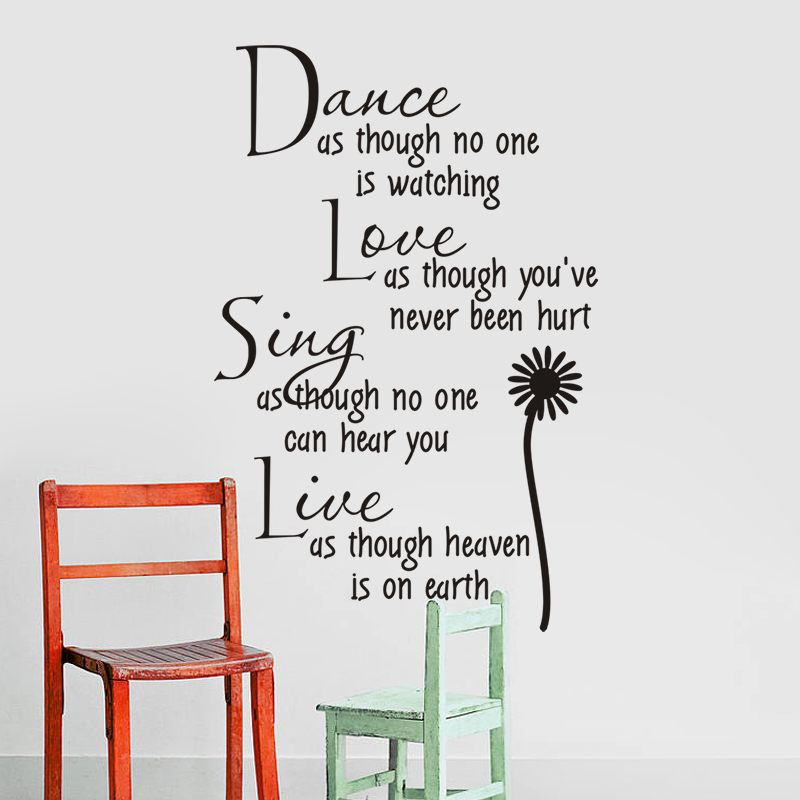 dance as though no one is watching love quote wall decals zooyoo2008 removable pvc wall stickers