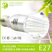 Hot Sale 8pcs CE RoHS 3W RGB LED Crystal Bulb 220V E27 LED Bubble Ball Bulb Lamp with Free remote controller and  Free Shipping