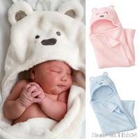 wrap newborn coral velvet blankets super soft bear hooded baby sleeping blanket baby swaddling receiving blankets BI0001
