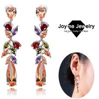 Joyme brand New 2014 Zircon earrings Flower pendant long Drop Earrings women's jewelry accessory 1 pair MOQ long earrings