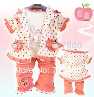 new 2014 girls spring-autumn cartoon rabbit fruit apple clothing sets 3pc toddle dot clothes set infant costume retail wholesale