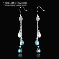 Neoglory Top Quality Austria Crystal Platinum Plated Long Tassel Drop Dangle Earrings for Women Fashion Jewelry 2015 New JS9