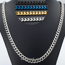 Customized 7mm Mens Curb Cuban Necklace Silver/Black/Gold/Blue Tone Stainless Steel Chain Promotion Wholesale Jewelry KNM13