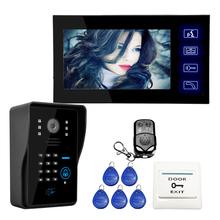 """Venta al por mayor táctil cable clave 7 """" Video de la puerta sistema de intercomunicación teléfono 1 RFID teclado número de código timbre de la cámara 1 Monitor envío gratis(China (Mainland))"""