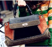 VEEVAN vintage women messenger bag jeans fashion patchwork women designer pu leather 2014 new hot women bag WFCHB00037
