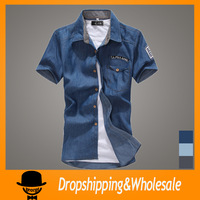 Free Shipping 2014 Summer Men's Short Sleeve Shirts Denim Shirts with Fashion Badge Casual Brand Sports Shirts Size:S~3XL X-024
