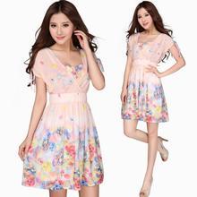 Summer Women's Fashion Knee-Length Party Dress Plus Size Chiffon V-Neck Elegant Elastic Waist Slim One-Piece Dress Casual Dress