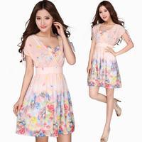 2014 Summer Women's Fashion Knee-Length Party Dress Plus Size Chiffon V-Neck Elegant Elastic Waist Slim One-Piece Dress