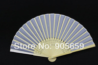 (100 pcs/lot) Handmade 8 inches Plain White Color Bamboo with Fabric Ladies Folding Fans