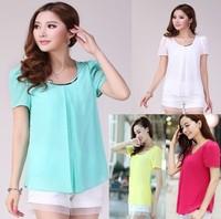 2014 New Fashion Hot Sale Plus Size Casual T-shirt,Short Chiffon Blouse Shirts For Women S-4XL F4320