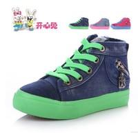 Child canvas shoes female child high lacing children shoes 2014 side zipper skateboarding shoes