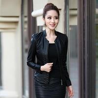 2015 Autumn PU Leather Jackets Women's Slim Sheepskin Coat Women's Short Design Zippers Black Leather Fashion Outcoat Xxxl
