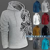 2014 Fashion Brand Dragon Printing Tatoo Hoodies Men,Casual Slim Pullover Sweatshirt Men,Sportswear Man Hoody,Fleece Hoodie