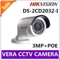4pcs 2014 Hikvision Fast shipping Original Gun Waterproof Security Network CCTV Camera DS-2CD2032-I 3MP IR IP Camera MINI POE
